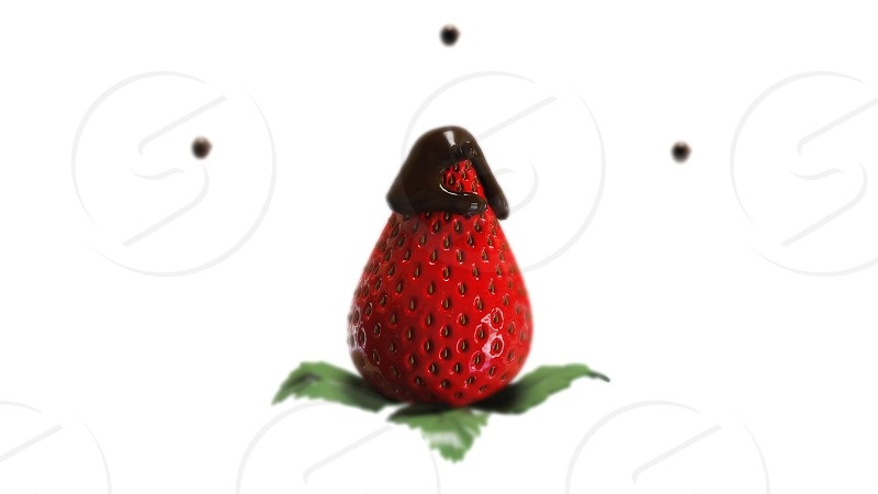 3d render special effects 3d realistic render realism realistic strawberry chocolate drops art photo