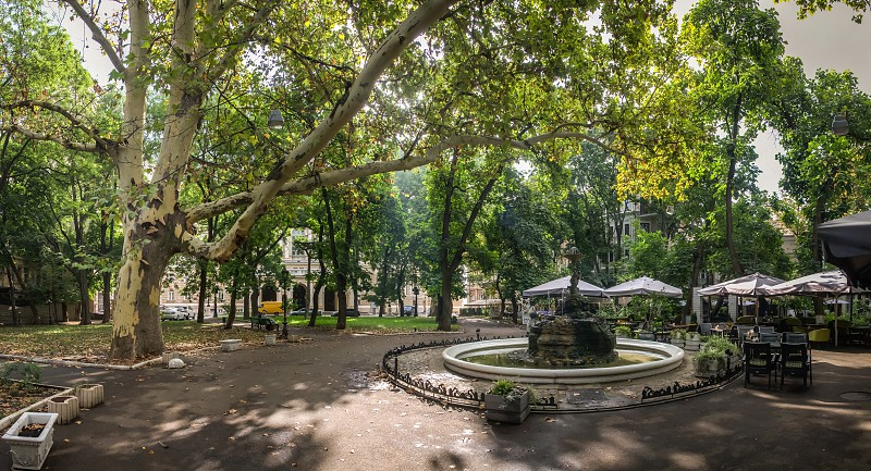 Odessa Ukraine - 09.12.2018. Panoramic view in the Odessa City square Palais-Royal in a sunny summer morning photo