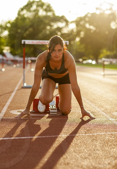 Female track Athlete on track photo