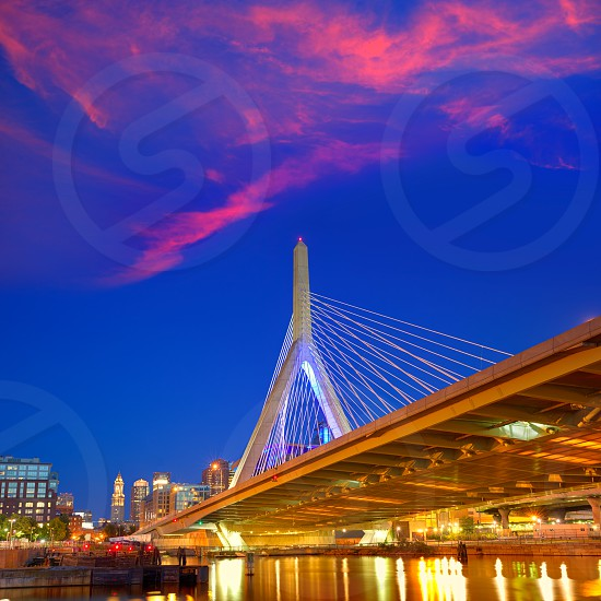 Boston Zakim bridge sunset in Bunker Hill Massachusetts USA photo
