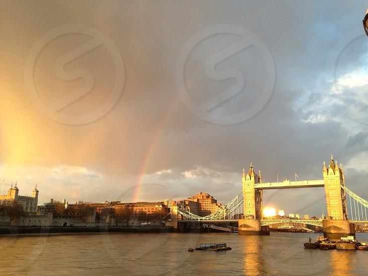 Tower Bridge and rainbow. London photo