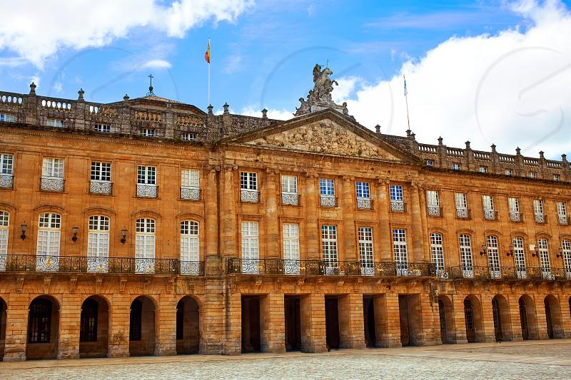 Santiago de Compostela Plaza Obradoiro arcade end of Saint James Way in Galicia Spain photo