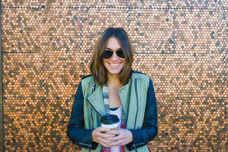 woman pennies tech fashion coffee photo