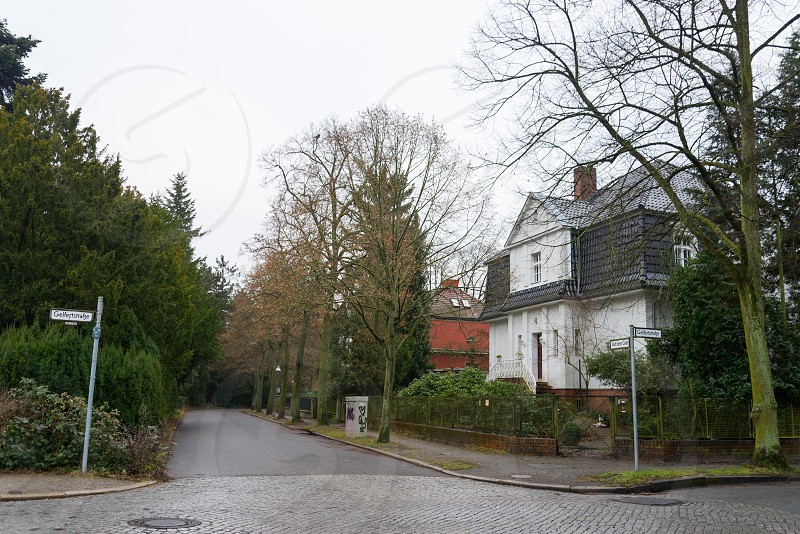 Huge villas beside Thielpark inside Dahlem Neighborhood in Berlin Germany The Thielpark is a center which nice villas is located around.  photo