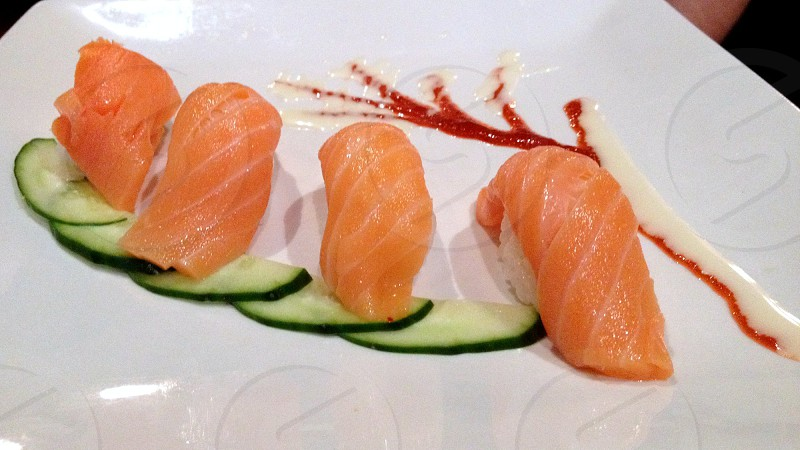 Sushi -- salmon nigiri photo