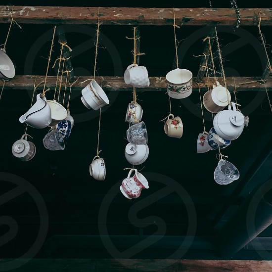 cups and pitchers hanged photo