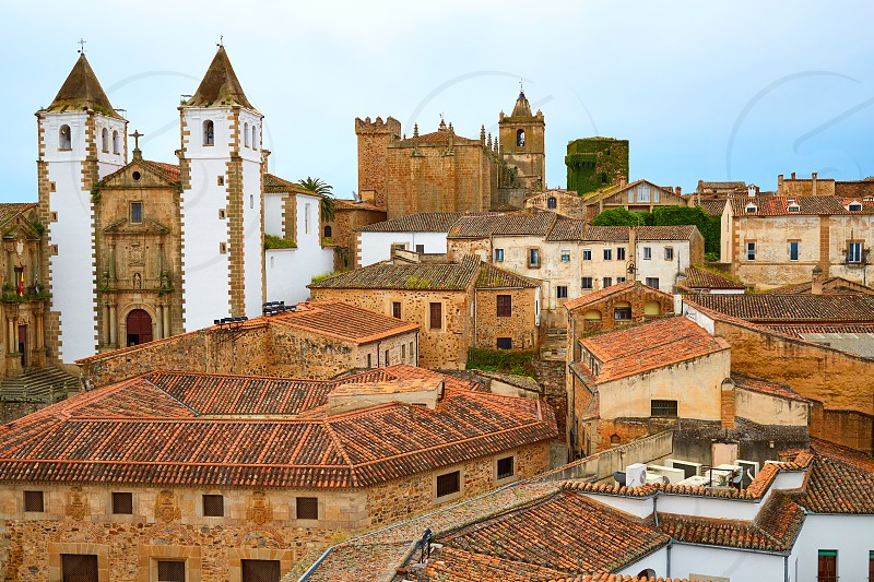 Caceres skyline San Francisco Javier church in Spain Extremadura photo