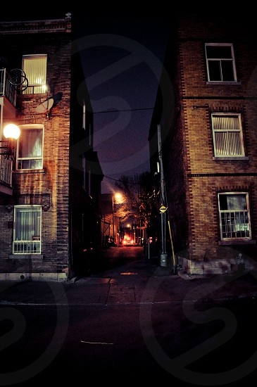 Night view of a street in Montreal (Canada) photo