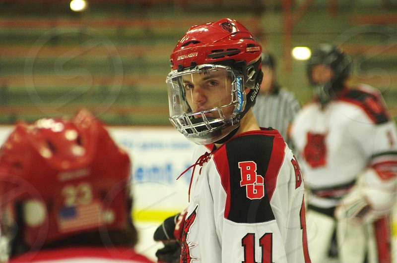 Hockey Player preparing for face-off. photo