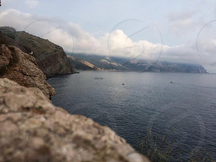 Sea water view mountain  photo
