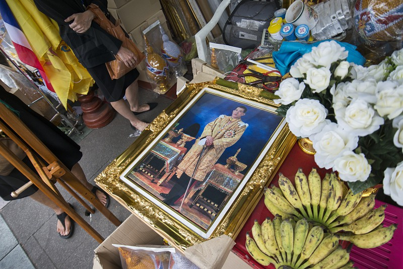 a pictures of the King Vajiralongkorn in a shop in the city of Bangkok on 7. 12. 2016 in Thailand photo