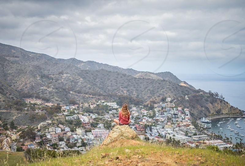 girl meditation summit peak catalina reflect photo