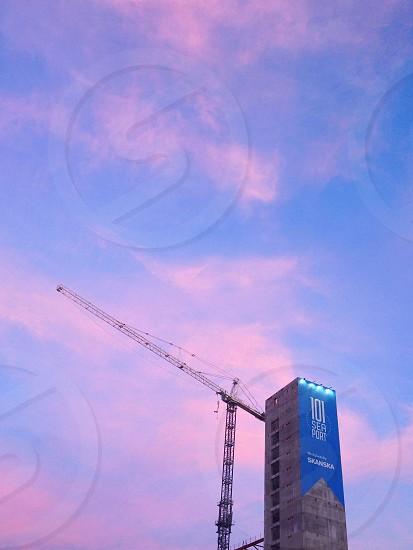 Skyline construction in Boston MA.  photo