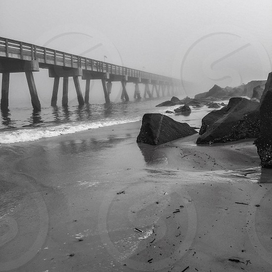 gray scale photo of dock above water photo