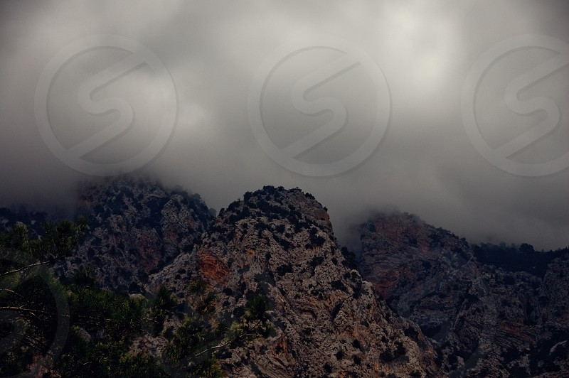 Mountains on a foggy day. photo