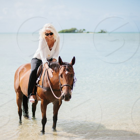 woman in white long sleeved shirt riding on horse photo
