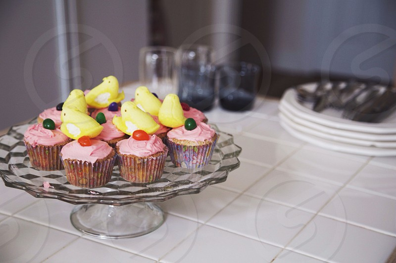 cupcakes with pink icing on a serving plate photo