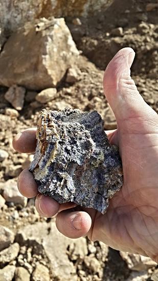fluorite stone taken by hand  photo