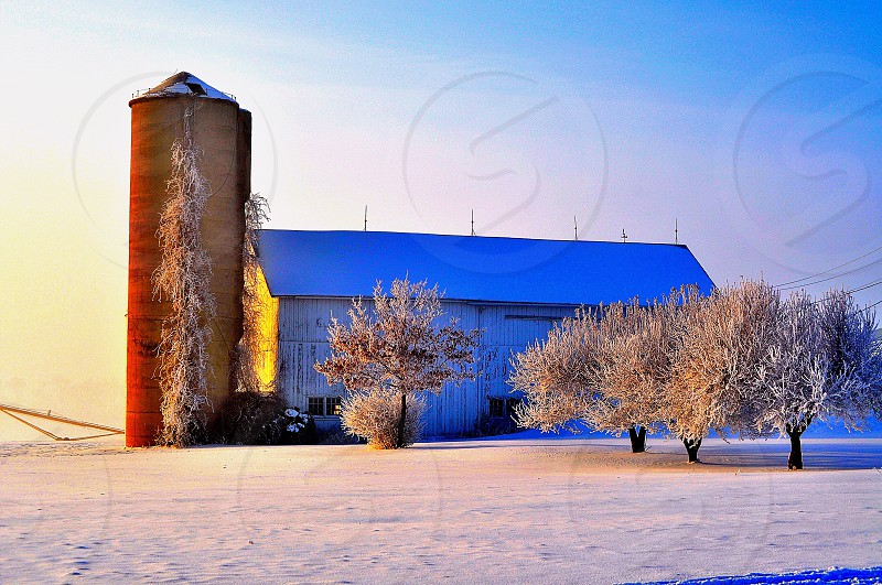 Winter farmhouse  photo