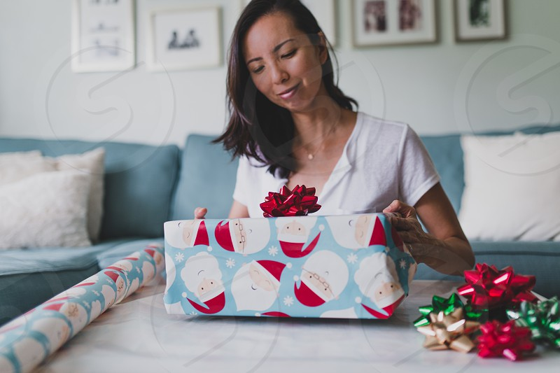 Wrapping presents for the holiday season. photo