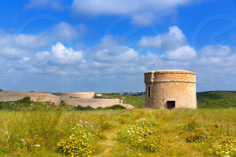 Menorca La Mola watchtower tower Cala Teulera in Mahon at Balearic islands photo