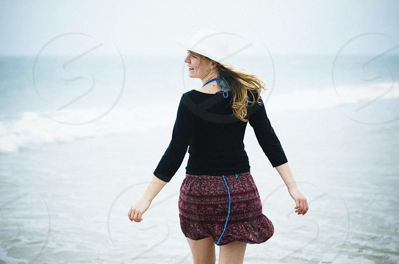 women's black long sleeved shirt photo