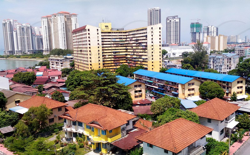 high angle photography of urban area under grey sky during daytime photo