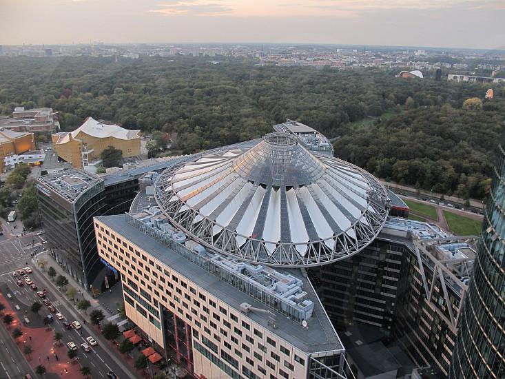 Aerial View of Sony Center in Berlin next to Tiergarten. photo