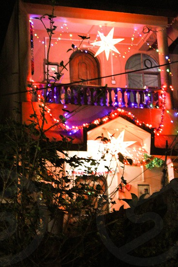 church décor in India lights Christmas star of David photo
