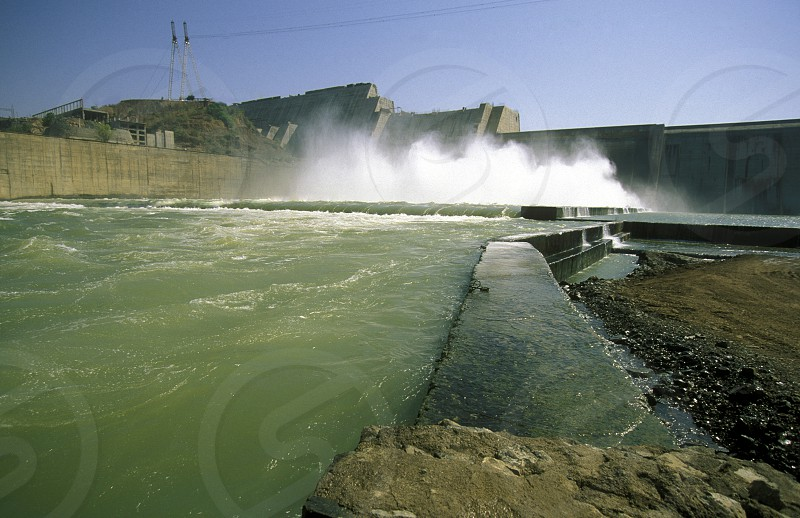 The River Waterpower Dam Project of Sardar Sarovar in the Province Gujarat in India. photo