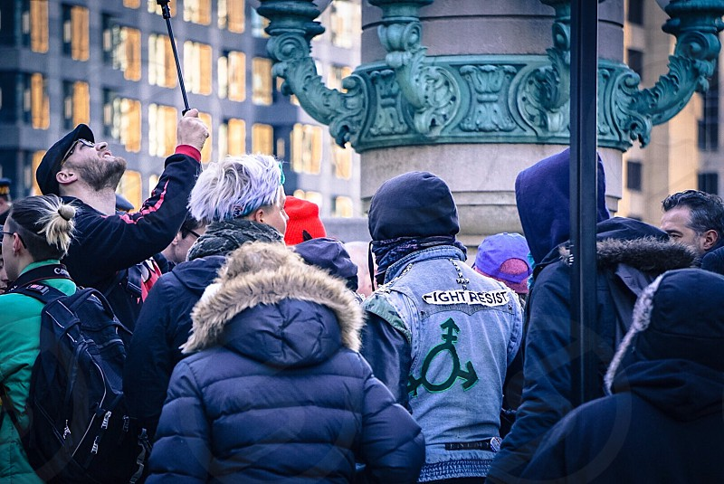 Millennials Protesting resisting marching Chicago  photo