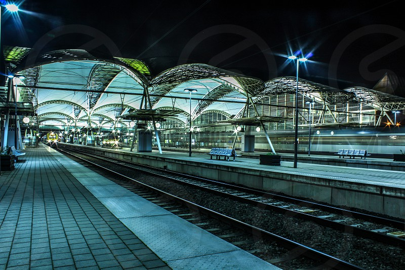Leuven Train Station by night photo