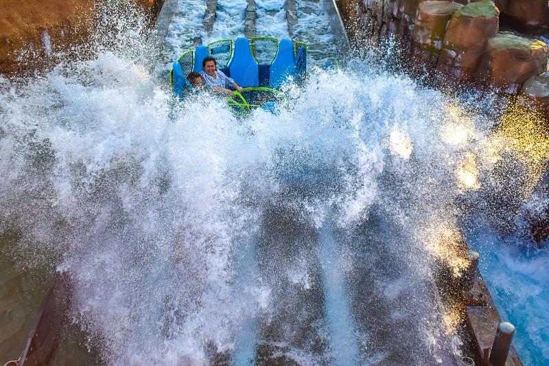Orlando Florida. March 09 2019 People having fun Kraken rollercoaster at Seaworld Marine Theme Park (4) photo