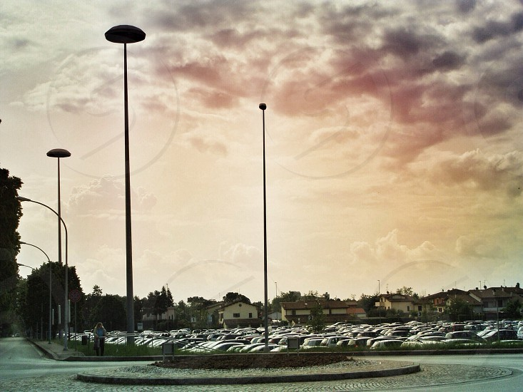 gray lamp post on parking lot photo