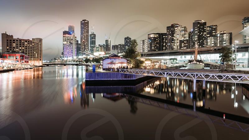 Melbourne CBD buildings architecture city skyline Ian Jones Photography tilt-shift canon light trails long exposure Yarra River Polly Woodside The Boatbuilders Yard dusk night night photography photo