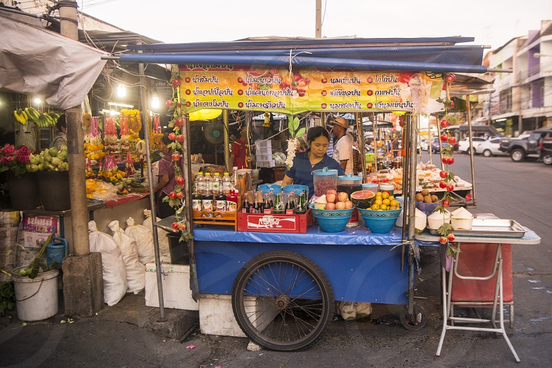 fresh thai food at the old city Food Market at the Clock Tower in the city of Surin in Isan in Northeast Thailand.  Thailand Isan Surin November 2017 photo