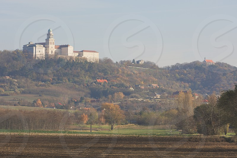 Benedictine Pannonhalma Archabbey with Pannonhalma Town in Hungary photo