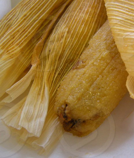 Tamales coming out of corn shuck photo