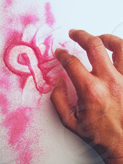 painting with pink glitter photo