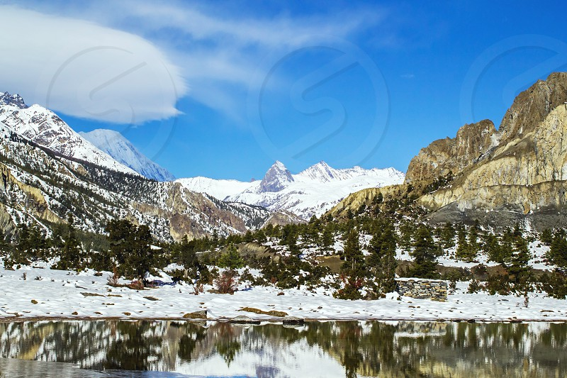 snow covered mountain photo