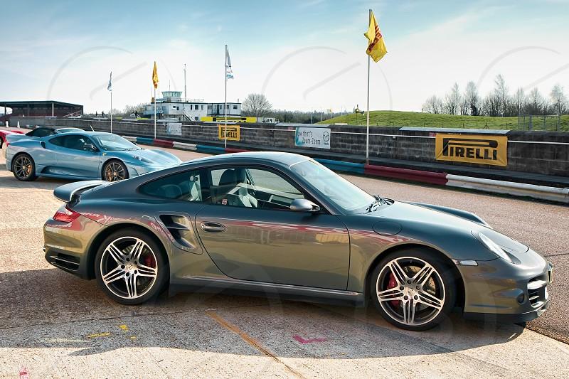 Side View of Porsche Sports Car at Thruxton Racing Circuit photo