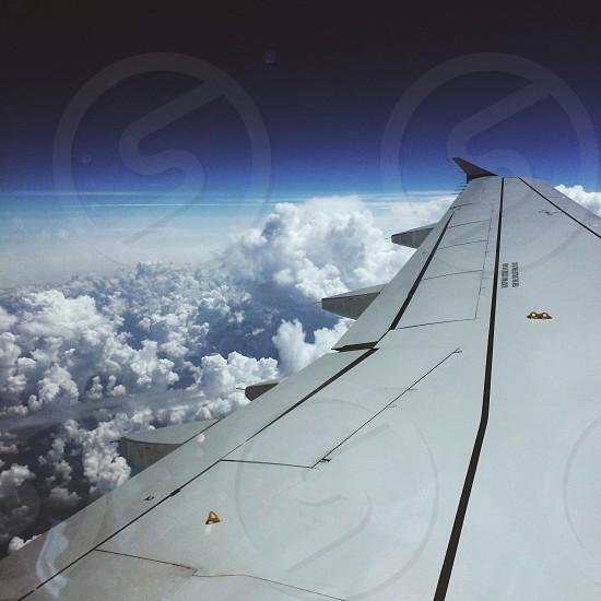 white airplane wings photo