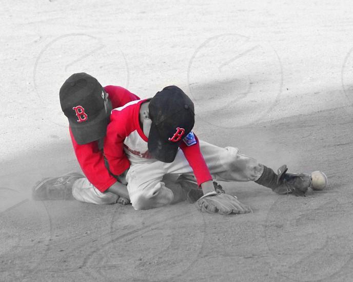 lomo effect photography of 2 baseball players  photo