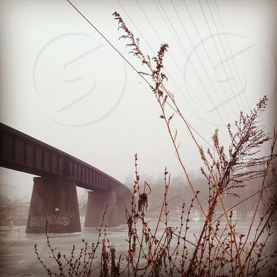 Michigan bridge winter perspective photo