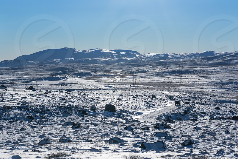 Driving along the F52 through the mountains of Thingvellir National Park Iceland photo