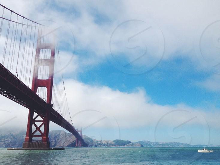 view of red golden gate bridge photo
