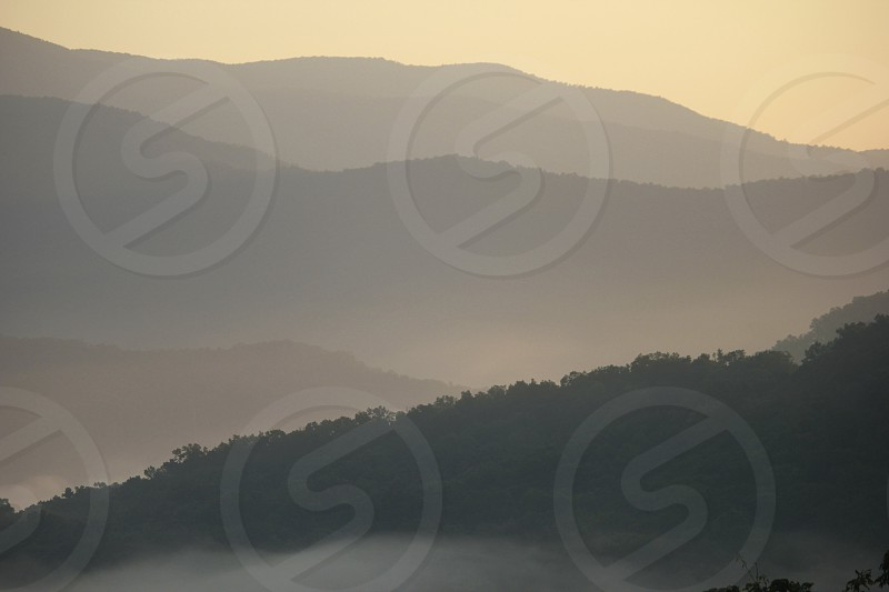 Misty North Carolina mountain morning photo