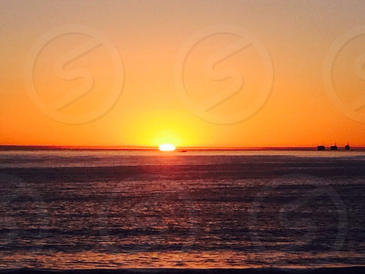 sea and sunset view photo