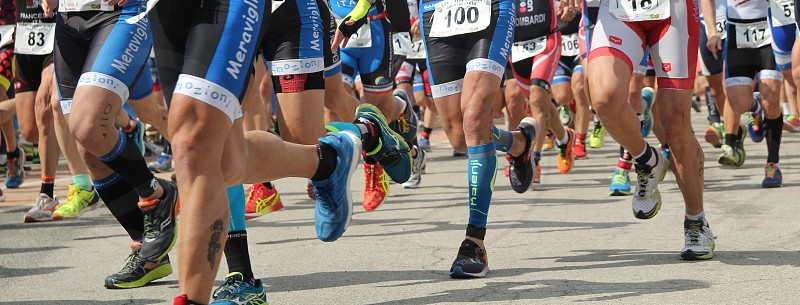 start and phases of a triathlon challenge photo
