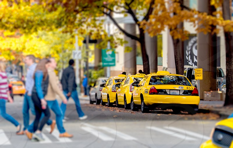 Yellow cabs and people on downtown street photo